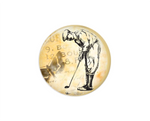 Button | Vintage Golfer | Tan Background | Badges and Buttons Club