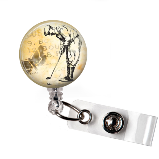 Badge Reel | Vintage Golfer | Tan Background | NC021 - Badges and Buttons Club