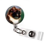 Cute Brown and White Cat | Badge Reel | NP004 - Badges and Buttons Club