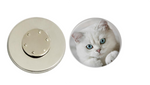 Magnetic Pin Back | White Cat | Badges and Buttons Club