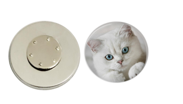 Magnetic Pin Back | White Cat - badges-and-buttons-club