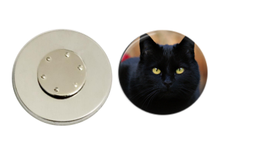 Magnetic Pin Back | Black Cat | Badges and Buttons Club