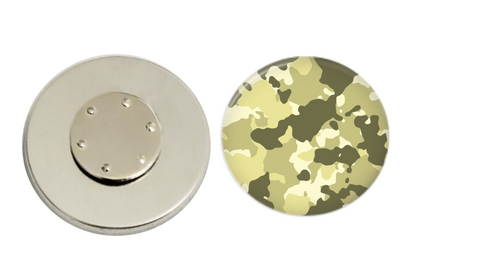 Magnetic Pin Back |  Green and Tan Camo | Badges and Buttons Club