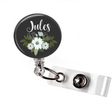 Personalized Floral | Black Background | Badge Reel | NP016 | Badges and Buttons Club
