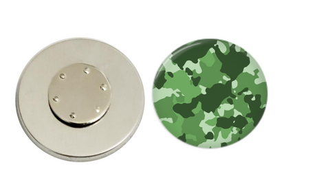 Magnetic Pin Back | Green Camo - badges-and-buttons-club