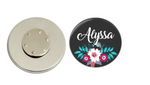 Magnetic Pin Back | Personalized Pink and Blue Floral | Black Background - badges-and-buttons-club