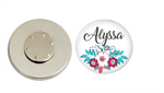 Magnetic Pin Back | Personalized Pink and Blue Floral | White Background | Badges and Buttons Club