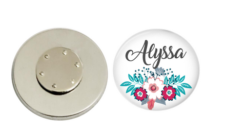 Magnetic Pin Back | Personalized Pink and Blue Floral | White Background - badges-and-buttons-club