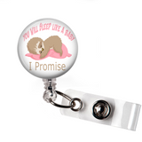 Badge Reel | You will sleep like a baby | Pink | Anesthesiologist - badges-and-buttons-club