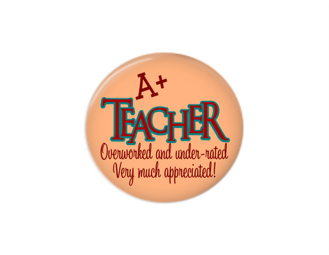 Button | A+ Teacher | Peach Background - badges-and-buttons-club