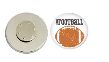 Magnetic Pin Back | Distressed Football | Badges and Buttons Club