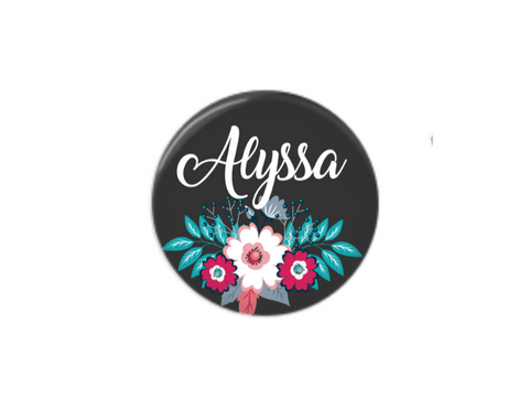 Button | Personalized Pink and Blue Floral | Black Background | Badges and Buttons Club