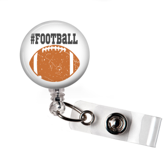 Distressed Football | White Background Badge Reel | NP005 | Badges and Buttons Club