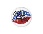 Button | Red white and blue America lips | Badges and Buttons Club