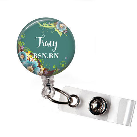 Badge Reel | Teal Floral | P083 | Badges and Buttons Club