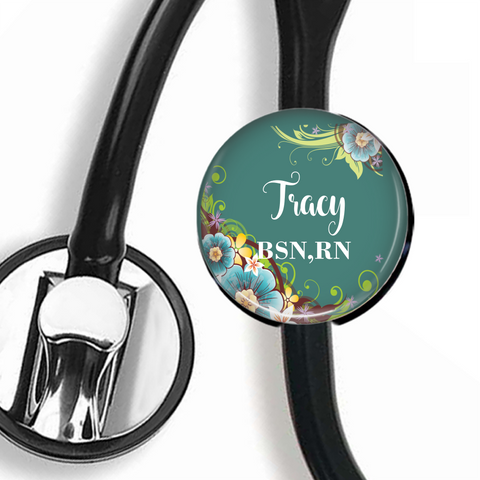 Teal Floral | Interchangeable Personalized Stethoscope ID tag, S083 | Badges and Buttons Club