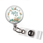Badge Reel | Mint Floral | P084 | Badges and Buttons Club