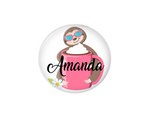 Button | Personalized Sloth and Coffee Cup | White Background | Badges and Buttons Club