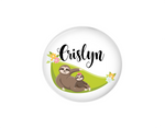Button | Personalized Sloth on a Hammock | White Background | Badges and Buttons Club