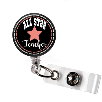 Badge Reel | All Star Teacher | Black Background - badges-and-buttons-club