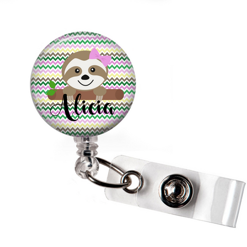 Personalized Sloth | Badge Reel | P005 | Badges and Buttons Club