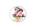 Button | Personalized Sloth and Mushroom | White Background - badges-and-buttons-club
