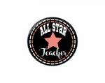 Button | All Star Teacher | Black Background | Badges and Buttons Club