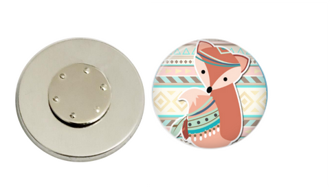 Magnetic Pin Back | Aztec Fox - badges-and-buttons-club