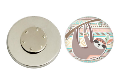 Magnetic Pin Back | Aztec Sloth | Badges and Buttons Club
