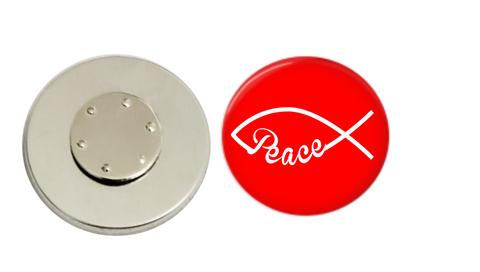 Magnetic Pin Back | Faith based peace | Red background | Badges and Buttons Club