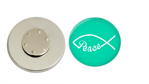 Magnetic Pin Back | Faith based peace | Mint Background | Badges and Buttons Club