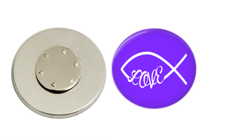 Magnetic Pin Back | Faith based love | Purple | Badges and Buttons Club