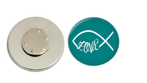 Magnetic Pin Back | Faith based love | Turquoise Background | Badges and Buttons Club
