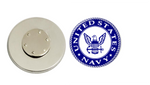 Magnetic Pin Back | US Navy | Blue Background | Badges and Buttons Club