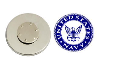 Magnetic Pin Back | US Navy | Blue Background - badges-and-buttons-club