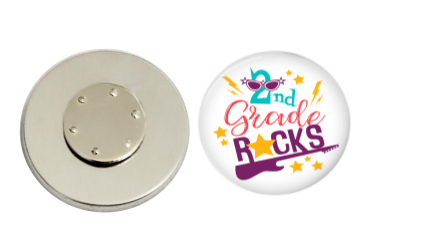 Magnetic Pin Back | 2nd Grade Rocks - badges-and-buttons-club