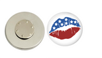 Magnetic Pin Back | Red white and blue lips | Badges and Buttons Club