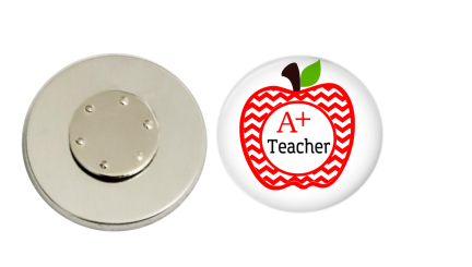 Magnetic Pin Back | A+ Teacher - badges-and-buttons-club