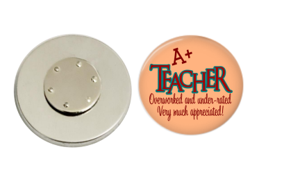 Magnetic Pin Back | A+ Teacher | Peach Background | Badges and Buttons Club