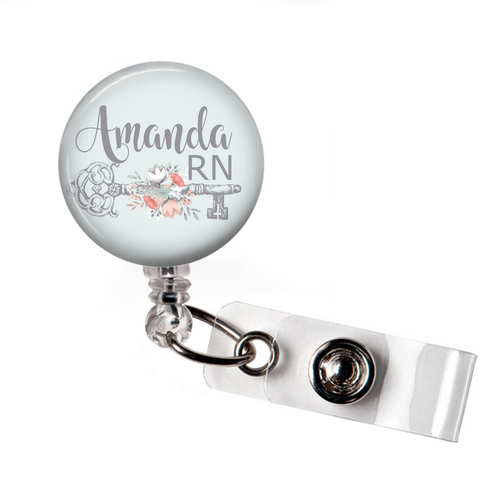 Badge Reel | Vintage Style Key | Personalized - badges-and-buttons-club