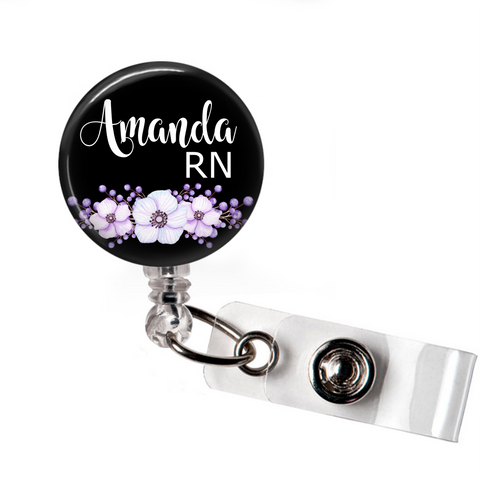 Badge Reel | Purple Floral with Black Background | Personalized - badges-and-buttons-club