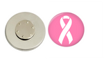 Magnetic Pin Back | Cancer Awareness | Pink Background - badges-and-buttons-club