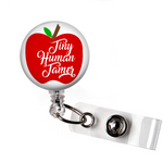 Badge Reel | Tiny Human Tamer | Red Apple - badges-and-buttons-club