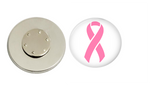 Magnetic Pin Back | Breast Cancer Awareness | White Background | Badges and Buttons Club