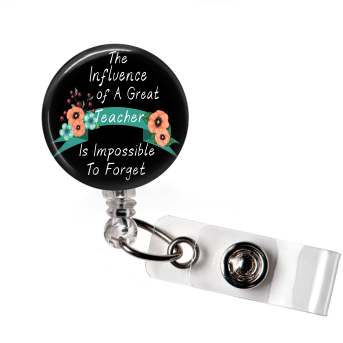 Badge Reel | The Influence of a Great Teacher | Black Background | NC019 - Badges and Buttons Club