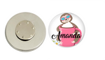 Magnetic Pin Back | Personalized Sloth and Coffee Cup | White Background - badges-and-buttons-club