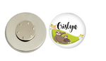Magnetic Pin Back | Personalized Sloth on a Hammock | White Background - badges-and-buttons-club