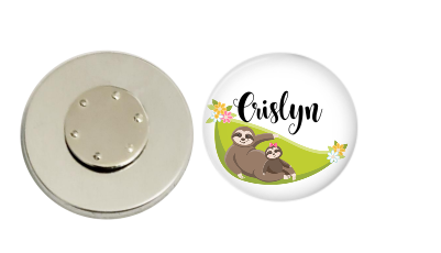 Magnetic Pin Back | Personalized Sloth on a Hammock | White Background | Badges and Buttons Club
