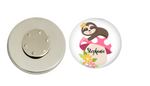 Magnetic Pin Back | Personalized Sloth and Mushroom | White Background | Badges and Buttons Club