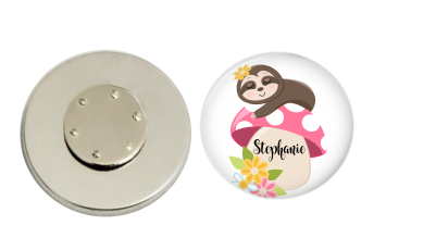 Magnetic Pin Back | Personalized Sloth and Mushroom | White Background - badges-and-buttons-club
